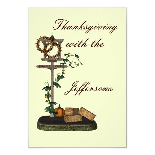 "Placa de calle decorativa de ""Thanksgiving"" Invitación 3.5"" X 5"""