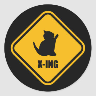 Placa de calle del amante del gato de la travesía etiquetas redondas