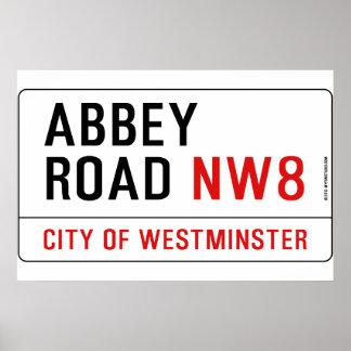 Placa de calle del camino de la abadía póster