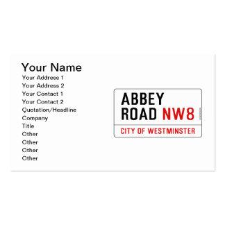 Placa de calle del camino de la abadía tarjetas de visita