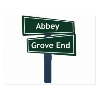 Placa de calle del camino de la abadía y del postal