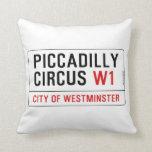 Placa de calle del circo de Piccadilly Cojines