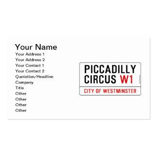 Placa de calle del circo de Piccadilly Tarjetas De Visita