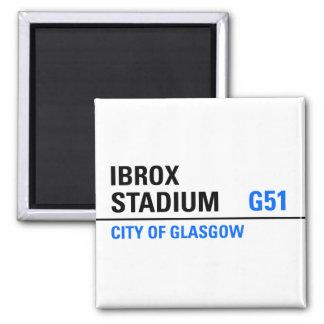 Placa de calle del Ibrox Stadium Imán Cuadrado