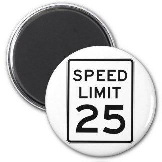Placa de calle del límite de velocidad 25 imán redondo 5 cm