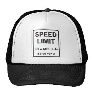 Placa de calle del límite de velocidad de la matem gorra