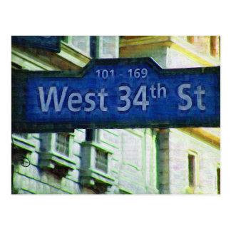 Placa de calle del oeste de NYC 34ta Postales