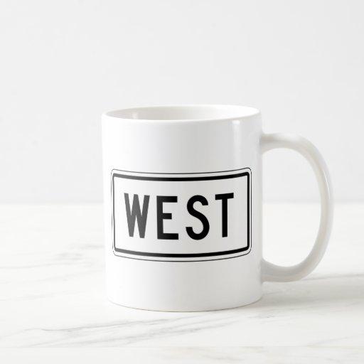 Placa de calle del oeste taza básica blanca