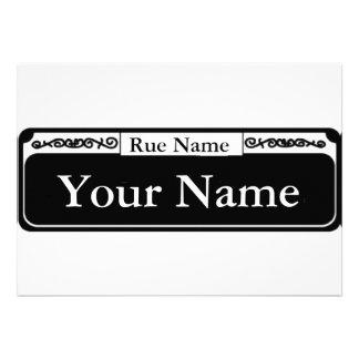 Placa de calle en blanco su nombre nombre de la invitacion personalizada