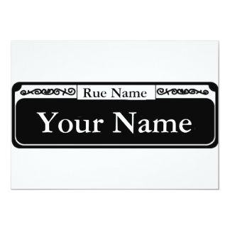 """Placa de calle en blanco, su nombre, nombre de la invitación 5"""" x 7"""""""