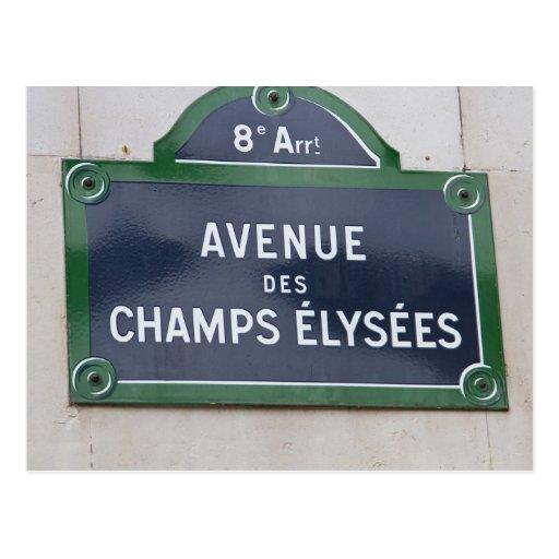 Placa de calle en París Postales