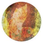 Placa de cena abstracta de la hoja de la caída platos para fiestas
