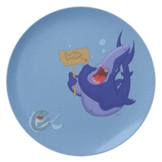 Placa de cena azul hambrienta del tiburón del dibu platos para fiestas