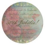 Placa de cena católica del jubileo de la monja 50. platos