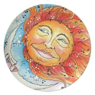 Placa de cena celestial de Sun y de la luna Plato
