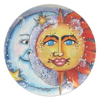 Placa de cena celestial de Sun y de la luna Platos