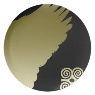placa de cena coa alas plato