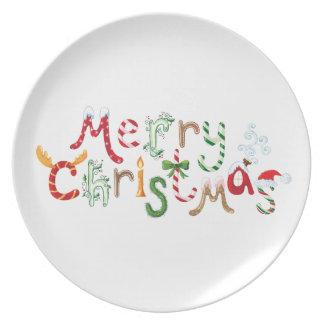 Placa de cena con la felicitación linda del navida platos