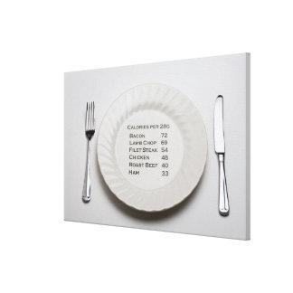 Placa de cena con la lista de calorías de la carne lona envuelta para galerias