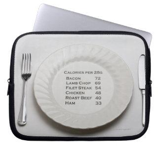 Placa de cena con la lista de calorías de la carne mangas portátiles