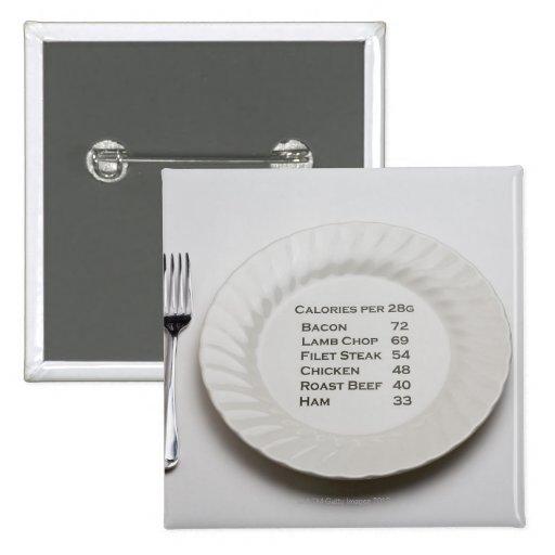 Placa de cena con la lista de calorías de la carne pins