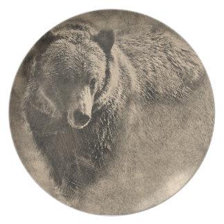 Placa de cena de dibujo de la melamina del oso platos