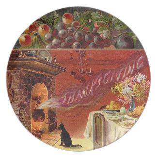 Placa de cena de la acción de gracias del vintage plato para fiesta