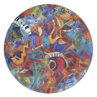 Placa de cena de la banda de la música de jazz plato para fiesta