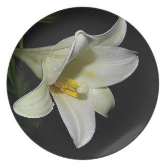 Placa de cena de la flor del lirio blanco plato para fiesta