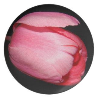 Placa de cena de la flor del tulipán platos para fiestas