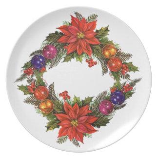 Placa de cena de la guirnalda del navidad plato de comida