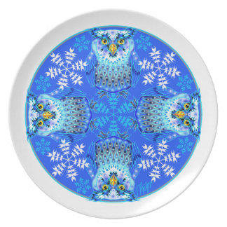 Placa de cena de la mandala del búho Nevado Plato