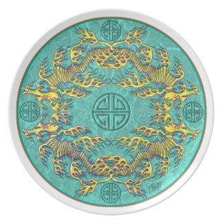 Placa de cena de la mandala del dragón del mar plato