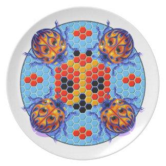 Placa de cena de la mariquita de la comida campest plato de cena