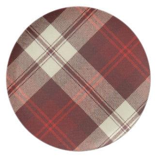 Placa de cena de la melamina del tartán de la plato de comida