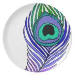 Placa de cena de la pluma del pavo real platos para fiestas