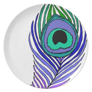 Placa de cena de la pluma del pavo real plato de cena