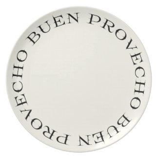 Placa de cena de la tipografía de Buen Provecho Plato Para Fiesta