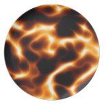 Placa de cena de las llamas platos