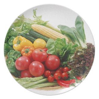 Placa de cena de las verduras platos de comidas