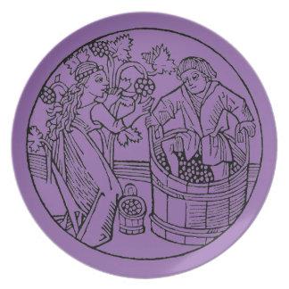 Placa de cena de Stompers de la uva Platos