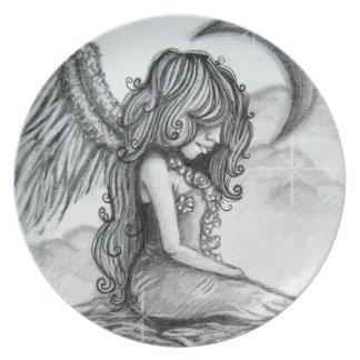 Placa de cena del ángel de la luna platos para fiestas