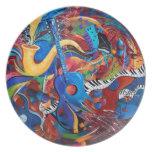 Placa de cena del arte de la música de la vida de  platos