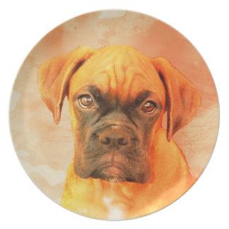 Placa de cena del arte del perro del boxeador platos para fiestas