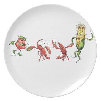 Placa de cena del baile plato de comida