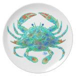Placa de cena del cangrejo azul