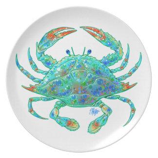 Placa de cena del cangrejo azul platos
