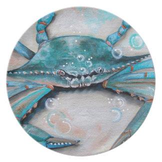 Placa de cena del cangrejo azul platos para fiestas