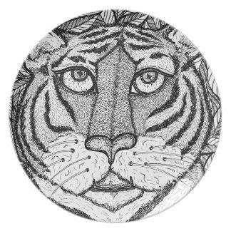 Placa de cena del diseño del tigre platos para fiestas