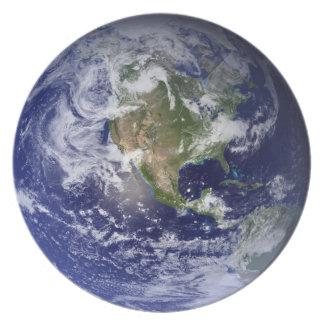Placa de cena del globo del hemisferio occidental plato